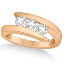 Three Stone Diamond Journey Ring Tension Set 14K Rose Gold 0.60ctw #72023v3