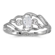 Certified 10k White Gold Oval White Topaz And Diamond Ring #51186v3