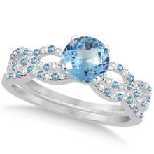 Infinity Style Blue Topaz and Diamond Bridal Set 14k White Gold 1.29ct #76371v3