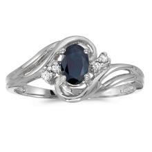 Certified 10k White Gold Oval Sapphire And Diamond Ring #51098v3