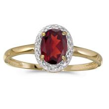 Certified 14k Yellow Gold Oval Garnet And Diamond Ring #51021v3