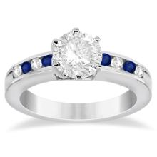 Channel Diamond and Blue Sapphire Engagement Ring 18K W Gold (0.40ct) #70326v3
