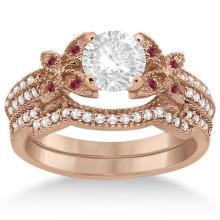 Butterfly Diamond and Ruby Bridal Set 14K Rose Gold (0.39ct) #70317v3
