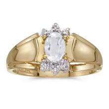 Certified 14k Yellow Gold Oval White Topaz And Diamond Ring #50688v3