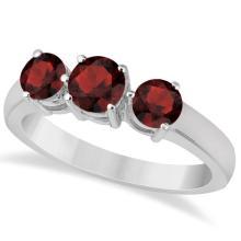 Three Stone Round Garnet Gemstone Ring in 14k White Gold 1.50ct #76009v3