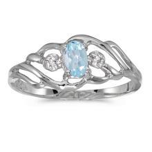 Certified 10k White Gold Oval Aquamarine And Diamond Ring #51191v3
