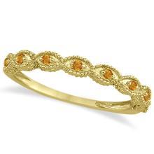Antique Marquise Shape Citrine Wedding Ring 14k Yellow Gold (0.18ct) #72326v3