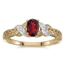 Certified 14k Yellow Gold Oval Garnet And Diamond Ring #50907v3