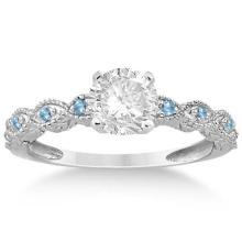 Vintage Marquise Blue Topaz Engagement Ring 18k White Gold (0.18ct) #72337v3