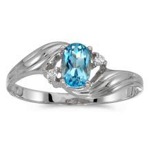 Certified 10k White Gold Oval Blue Topaz And Diamond Ring #51111v3