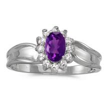 Certified 14k White Gold Oval Amethyst And Diamond Ring #50908v3