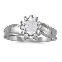 Certified 14k White Gold Oval White Topaz And Diamond Ring #50896v3