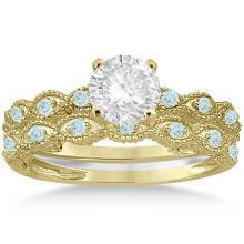 Antique Aquamarine Bridal Set Marquise Shape 14K Yellow Gold 0.36ct #72316v3