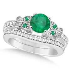 Butterfly Genuine Emerald and Diamond Bridal Set 14k White Gold 0.93ct #76437v3
