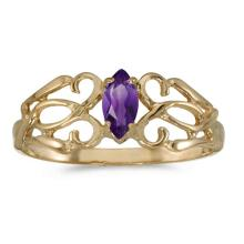 Certified 10k Yellow Gold Marquise Amethyst Filagree Ring #50748v3
