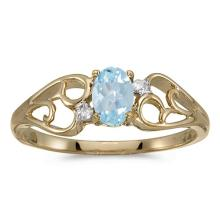 Certified 10k Yellow Gold Oval Aquamarine And Diamond Ring #50534v3