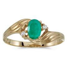 Certified 10k Yellow Gold Oval Emerald And Diamond Ring #51196v3