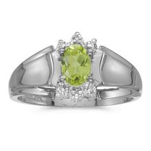Certified 10k White Gold Oval Peridot And Diamond Ring #50752v3