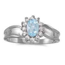 Certified 14k White Gold Oval Aquamarine And Diamond Ring #50901v3