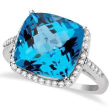 Checkerboard Swiss Blue Topaz and Diamond Halo Ring 14K W. Gold 8.75tcw #71684v3