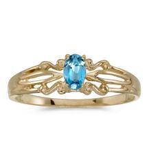 Certified 14k Yellow Gold Oval Blue Topaz Ring #50897v3