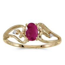 Certified 10k Yellow Gold Oval Ruby And Diamond Ring #50742v3