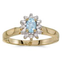 Certified 14k Yellow Gold Oval Aquamarine And Diamond Ring #50542v3