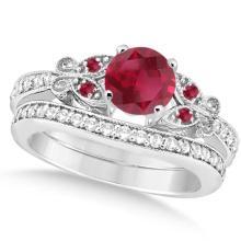 Butterfly Genuine Ruby and Diamond Bridal Set 14k White Gold 1.08ctw #76445v3