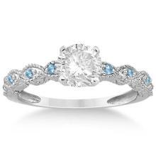 Vintage Marquise Blue Topaz Engagement Ring 14k White Gold (0.18ct) #72335v3