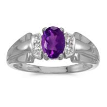 Certified 10k White Gold Oval Amethyst And Diamond Ring #50538v3