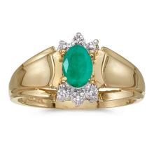Certified 14k Yellow Gold Oval Emerald And Diamond Ring #50684v3