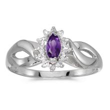 Certified 10k White Gold Marquise Amethyst And Diamond Ring #50537v3
