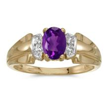 Certified 10k Yellow Gold Oval Amethyst And Diamond Ring #50579v3