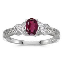 Certified 14k White Gold Oval Rhodolite Garnet And Diamond Ring #50763v3