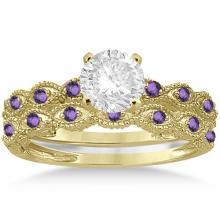 Antique Amethyst Bridal Set Marquise Shape 14K Yellow Gold 0.36ct #72301v3