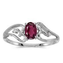 Certified 10k White Gold Oval Rhodolite Garnet And Diamond Ring #50657v3