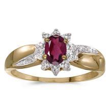 Certified 14k Yellow Gold Oval Rhodolite Garnet And Diamond Ring #50895v3