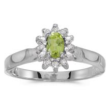 Certified 10k White Gold Oval Peridot And Diamond Ring #50564v3