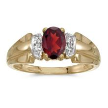 Certified 10k Yellow Gold Oval Garnet And Diamond Ring #50585v3