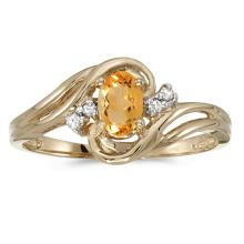 Certified 10k Yellow Gold Oval Citrine And Diamond Ring #51103v3