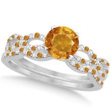 Citrine and Diamond Infinity Style Bridal Set 14k White Gold 1.69ct #76378v3
