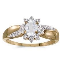 Certified 10k Yellow Gold Oval White Topaz And Diamond Ring #51015v3