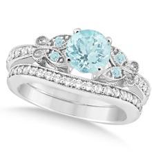 Preset Butterfly Aquamarine and Diamond Bridal Set 14k White Gold 0.95ct #76409v3