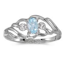 Certified 14k White Gold Oval Aquamarine And Diamond Ring #51109v3
