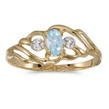 Certified 10k Yellow Gold Oval Aquamarine And Diamond Ring #50997v3