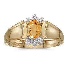 Certified 10k Yellow Gold Oval Citrine And Diamond Ring #50799v3