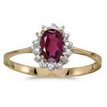 Certified 14k Yellow Gold Oval Rhodolite Garnet And Diamond Ring #51185v3