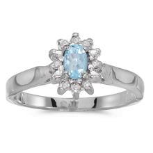 Certified 10k White Gold Oval Aquamarine And Diamond Ring #50582v3