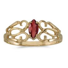 Certified 10k Yellow Gold Marquise Garnet Filagree Ring #50755v3