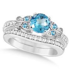 Butterfly Blue Topaz and Diamond Bridal Set 14k White Gold 1.10ct #76421v3